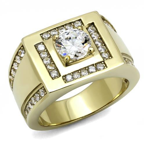 Men's  Round Cut  simulated diamond 14K Gold Plated