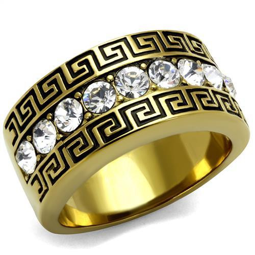 Men's 14K Gold Plated Stainless Steel Simulated Diamond Greek Key