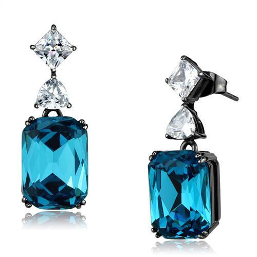 Blue Zircon Simulated Diamond Drop Earrings