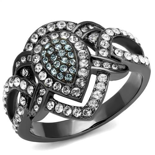 Pear Shape Aqua Crystal Ring