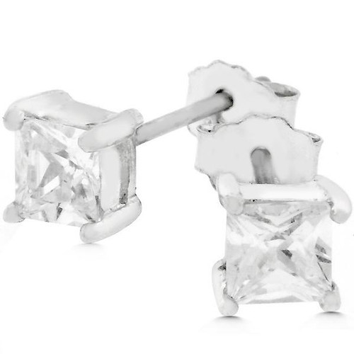 Princess Cut Stud Earrings for women