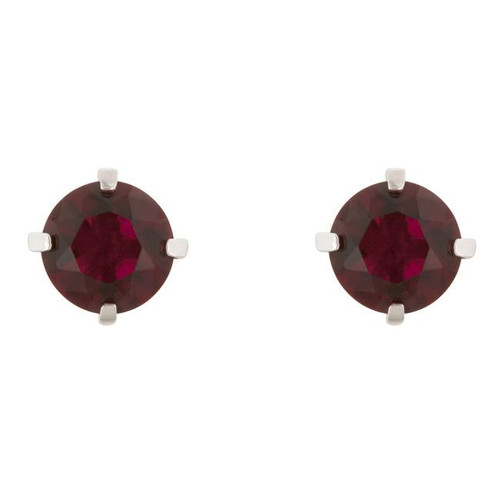 Ruby Gemstone Earrings CZ