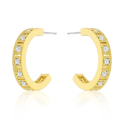 Gold with Crystal hoop earrings