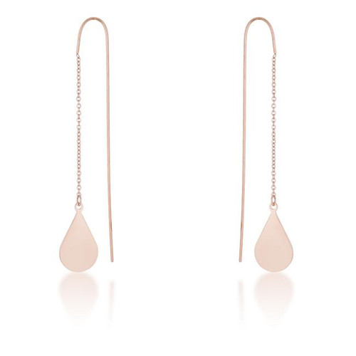 Teardrop Threaded Drop Earrings in Rose Gold Stainless Steel