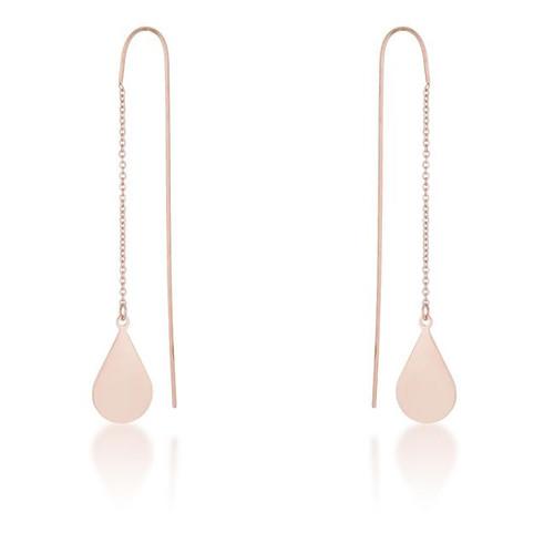 Teardrop Threaded Drop Earrings in Rose Gold Stainless Steel