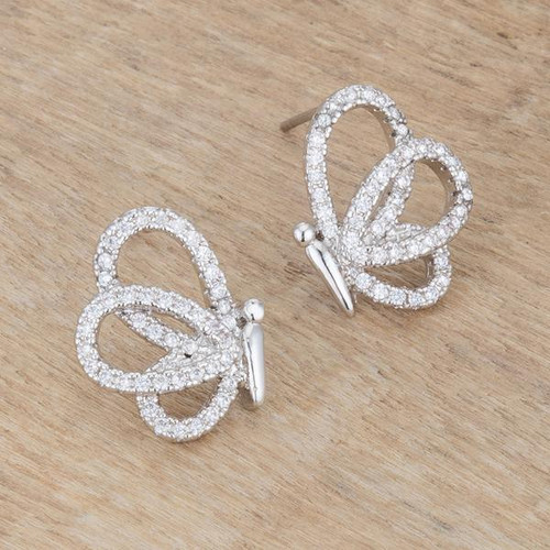 Whimsical Cubic Zirconia Butterfly Stud Earrings