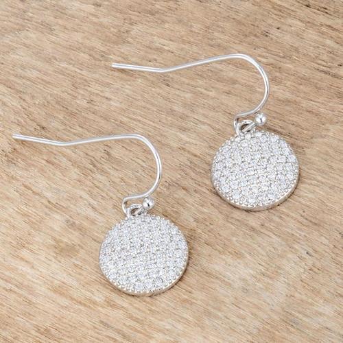 Women's Silver Disk .6 Ct Cubic Zirconia Earrings