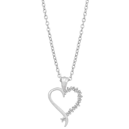 Classic Round CZ Rhodium Plated Heart Pendant Necklace