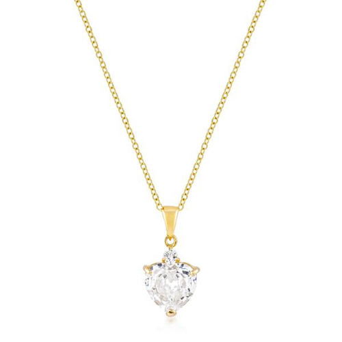 Heart Shaped Faux Diamond Gold Plated Pendant Necklace