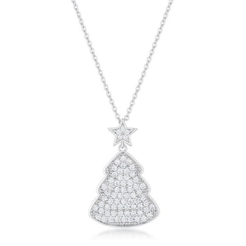 5.75 Ct TW CZ Christmas Tree with Star Drop Necklace