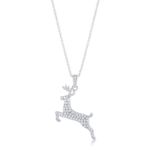 .35 ct CZ Reindeer Holiday Pendant Necklace