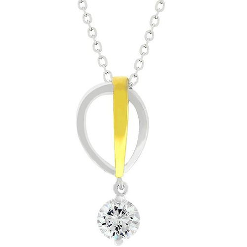 Silver and Gold Interlocking Water Drops with Cubic Zirconia