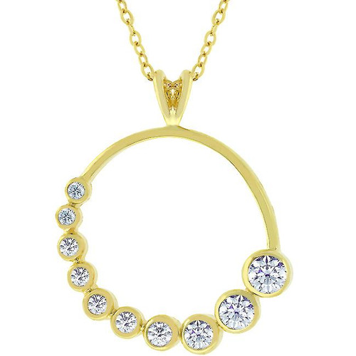 Dazzling Gold Graduated CZ Circle Pendant Necklace