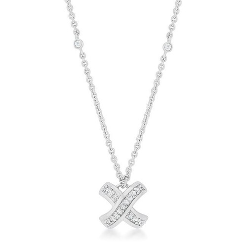 Women's crisscross design CZ necklace