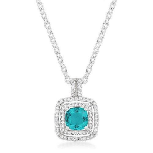 Women's Aqua Stud Pendant Necklace