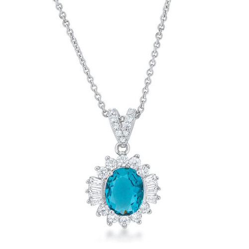 Women's Aqua color drop cubic zirconia necklace