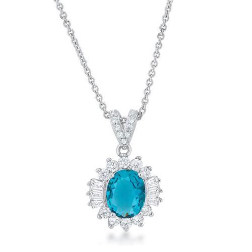 Women's Aqua color drop cubic zirconia necklace