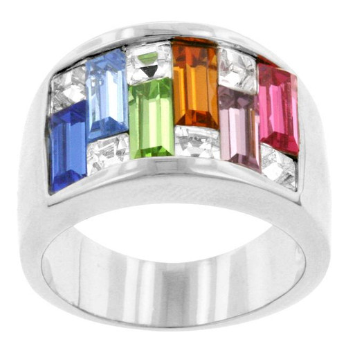 Women's Crystal Ring Silver