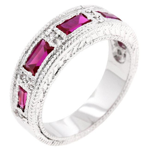 Ruby Red and CZ Five Stone Bezel Eternity Band