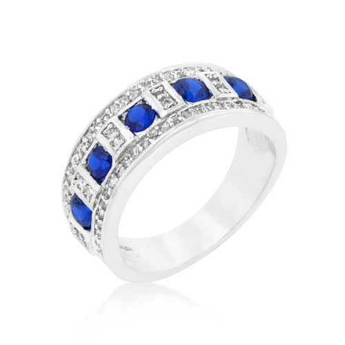Round Imitation Blue Sapphire and Clear Encrusted Rhodium Plated Ring