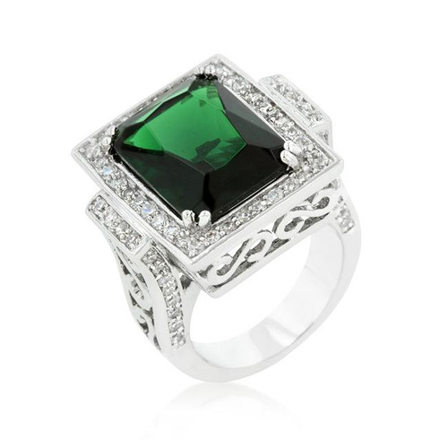 Lab Created CZ Stone Emerald Green Cocktail Ring