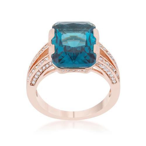 Aqua Cubic Zirconia Rose Gold Emerald Cocktail Ring