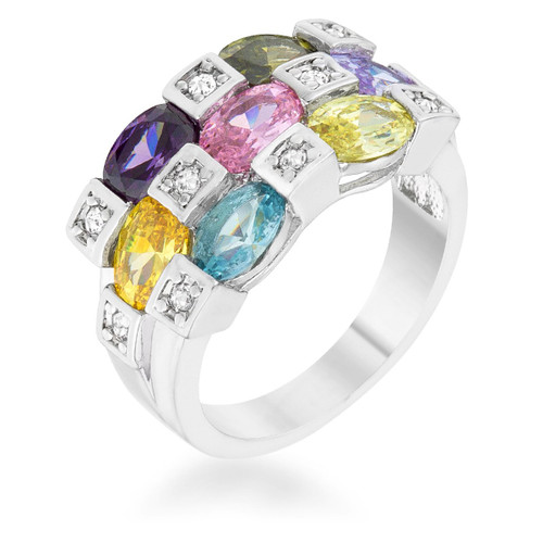 Rhodium Plated Cocktail Ring for women