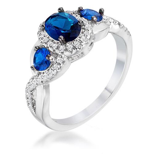 women's three stone blue sapphire rings
