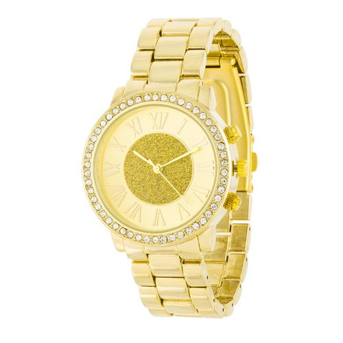Unisex 18k Gold Plated Crystals Roman Numeral Watch