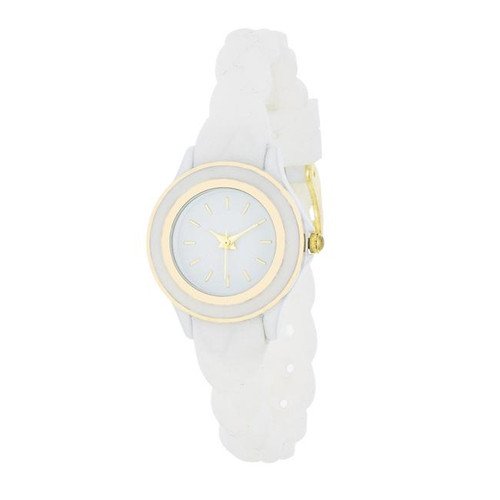 Braided Lady Watch With White Rubber Strap