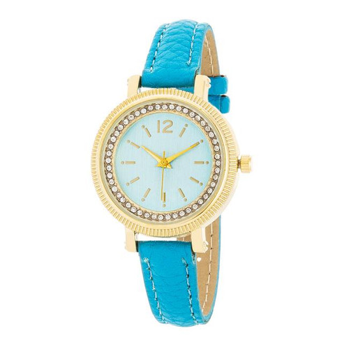 Turquoise and Gold Austrian Crystal Watch With Turquoise Leather Strap