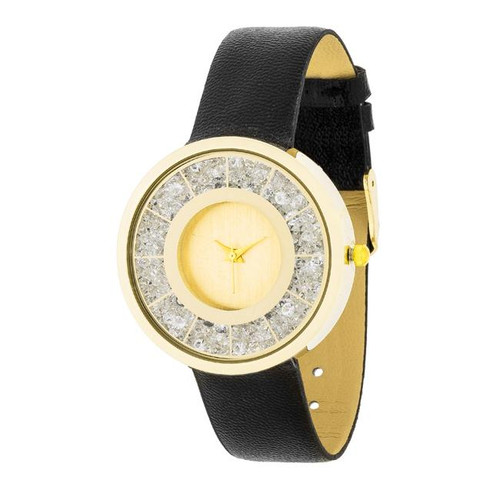 Gold Watch with black leather band