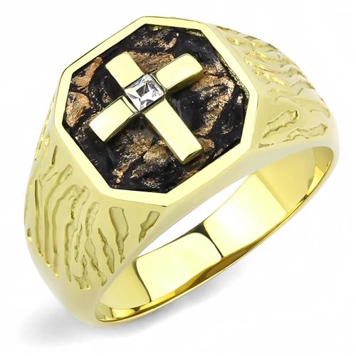 Men's 14(k) gold plated Cross ring