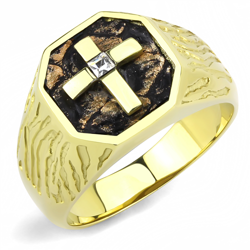 Men's 14(k) gold plated Cross ring