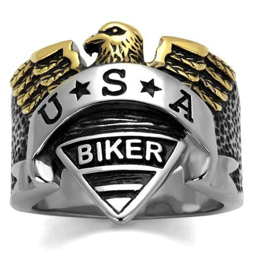 Men's USA biker ring in sterling silver