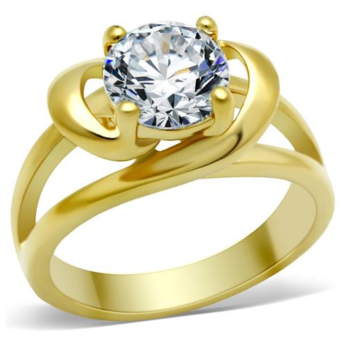 WOMEN'S 14K GOLD PLATED 2.0 CT ROUND BRILLIANT CUT CZ ENGAGEMENT RING