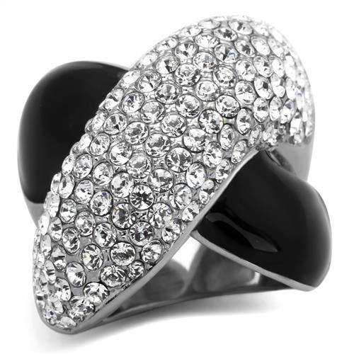 Pave Crystal Stone Stainless Steel Ring