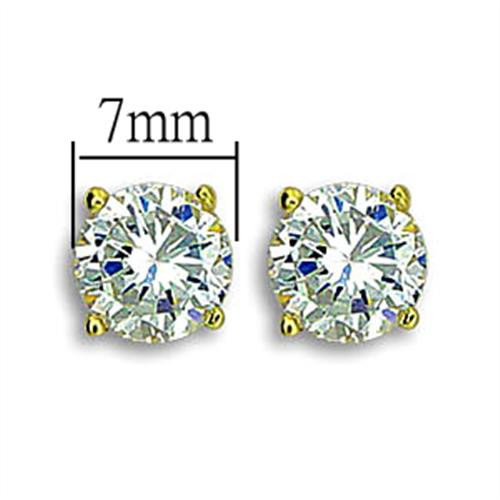 CZ stud earrings gold