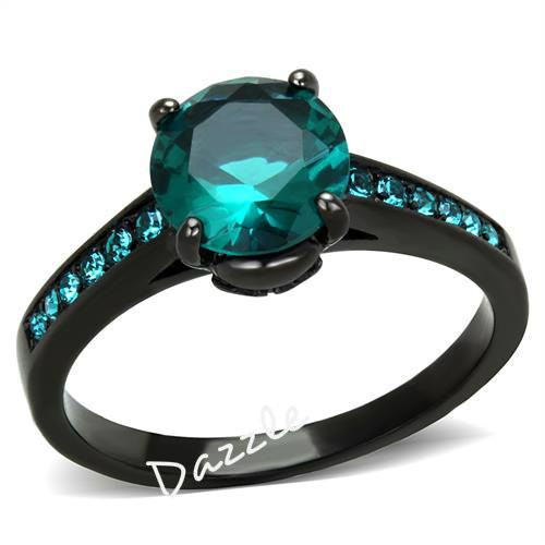 Blue Zircon Halo Cubic Zirconia Black Engagement Ring