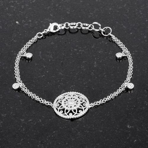 Interlocking Silver bracelets with Cubic Zirconia
