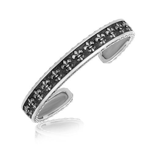 Women's Sterling Silver Cuff Bracelet with motifs designs.