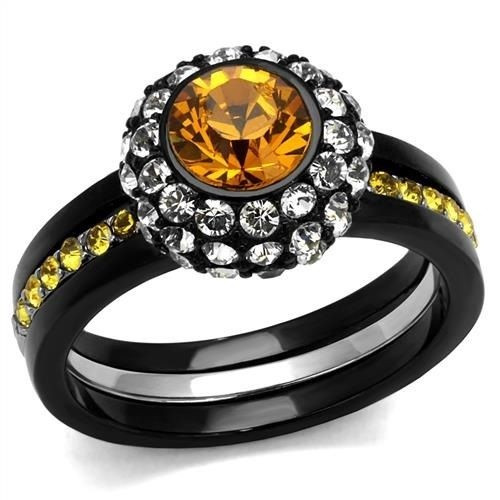 Stainless Steel 3.25 Ct Round Topaz Halo Cubic Zirconia Black