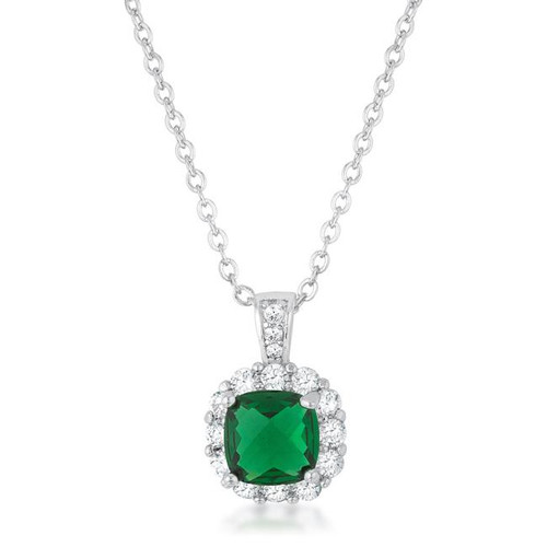 Women's simulated Emerald Pendant Necklace
