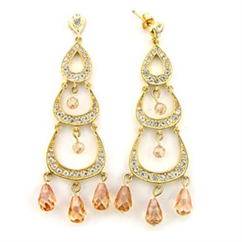 Imitation Champagne Diamond Chandelier Earrings for Women