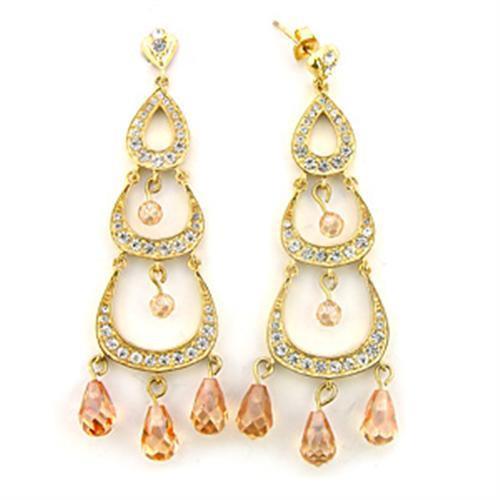Imitation Champagne Diamond Chandelier Earrings for Women