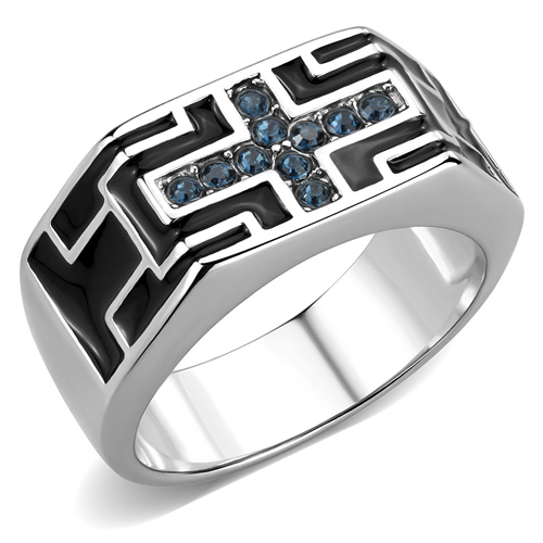 Men's Blue Montana Crystal Accent Cross Ring