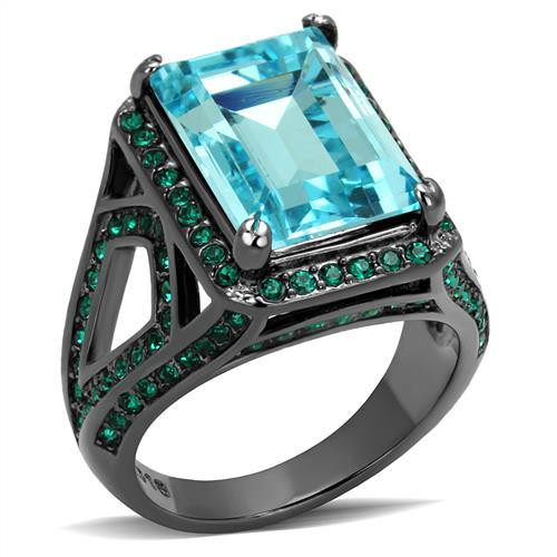 Simulated Aquamarine and Green Crystal Stainless Steel