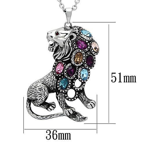 Stainless Steel Crystal Lion Pendant Necklace