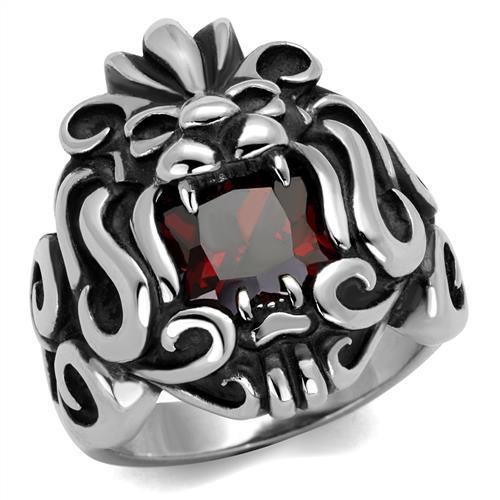 Garnet Red Cubic Zirconia Tribal Lion Ring