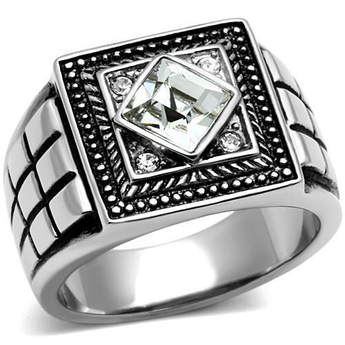 Celtic Style Stainless Steel Ring with  Crystal